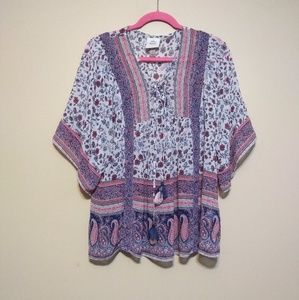 Knox Rose boho paisley blouse sz L